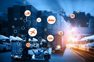 Supply Chain Data Mapped Over Delivery Vehicles - Cedric Millar Supply Chain Logistics Company